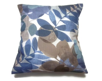 Decorative Pillow Cover Leaf and Modern Floral Shades of Blue Taupe Aqua White Same Fabric Front/Back Toss Throw Accent 18x18 inch x