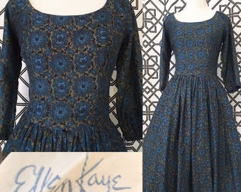 "1950s ""Ellen Kaye"" Scoop Neck Swing Dress"