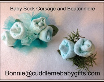 Baby Sock Corsage Baby Shower Baby Sock Corsage and Boutonniere Baby Shower Gift Baby Shower Decor Baby Shower Favor