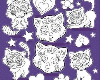 80% OFF SALE Sugar skull cats digital stamp commercial use, black lines, vector graphics, digital stamp, halloween digital images - DS1113