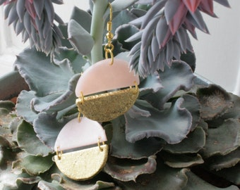 Pink earrings, Rose earrings gold, Pink drop earrings, Modern Art Deco earrings, Rose quartz and gold, Polymer clay earrings, gift for woman