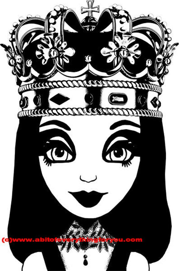 queen big eye girl printable art clipart png download digital image graphics kids room art crafts black and white artwork