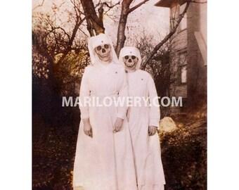 Creepy Halloween Art, Skull Art Print, Creepy Nurses, 8.5 x 11 Inch Print, Halloween Decor, Macabre Decor, frighten