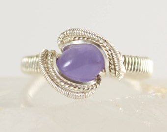 Purple Chalcedony Sterling Silver Wire Wrapped Ring