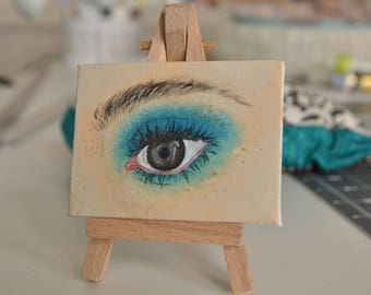 Tiny Painting - Teal Eye