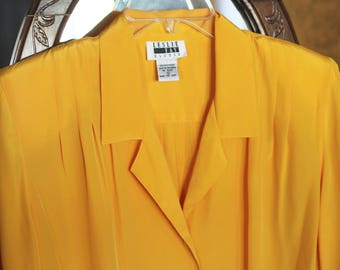 Leslie Fay Mustard Golden Yellow Button Up Blouse M/L