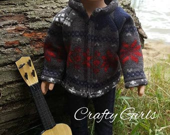 18 inch doll boy or girl sweater fleece outfit