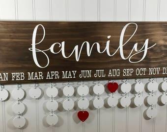 Family Calendar for Birthdays - Family Celebrations Board  - FA002W