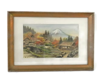 "Antique Japanese Silk Painting by ""Umpo"" Mount Fuji"