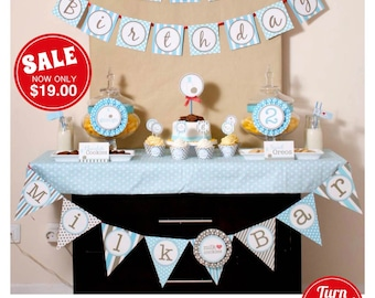Blue Milk & Cookies Birthday Party Package Personalized FULL Collection Set - PRINTABLE DIY - PS812CA1x
