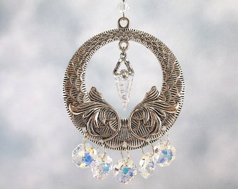 Swarovski Crystal Pendulum Sun Catcher, Rear View Mirror Charm, Window Ornament, AB Clear Swarovski Crystal, Crystal Car Charm, Gift for Her