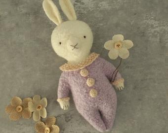 Artist Vintage style wool fiber Rabbit Thread Bears hare one of a kind toy crocheted heirloom doll rare