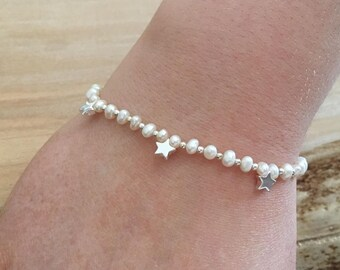 Sterling Silver and Small genuine Pearl Dainty Bead Bracelet with Sterling Silver stars