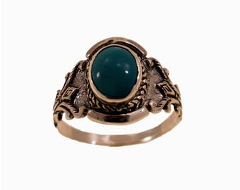 925 Sterling Silver Turquoise Ring - December Birthstone - Cabochon Ring - BirthStone Ring - Dainty Ring - Free Shipping - Girlfriend Gift