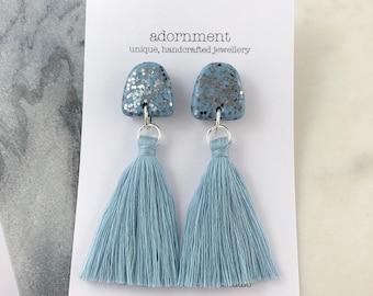 Polymer clay tassel stud earrings in pale blue glitter