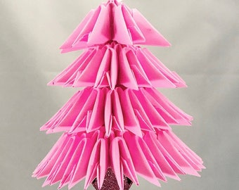 Pink Handmade 3D Origami Christmas Tree Christmas/Holiday Ornament with Sparkly Pink Jingle Bell