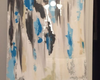SOLD! Original acrylic abstract paiting with silver leafing, blues, gray, and cream