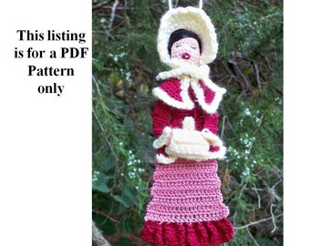 victorian caroler bookmark or ornament pattern, amiguri winter ornament, thread crochet instructions, Christmas decoration diy, holiday pdf