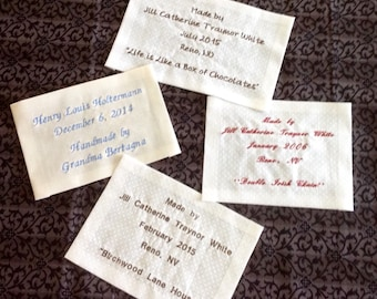 Machine Embroidered Personalized Quilt Label