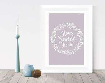Housewarming gift, Home sweet home print, flower wreath, new home gift,  first home gift, rustic home decor, Unique poster, Wall art