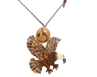 Tagua Nut Necklace: Eagle 2 (1153-N452)