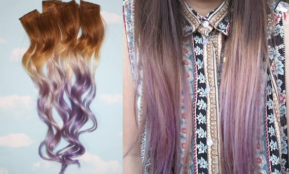 Blonde Ombre Hairstyles Colors: Handmade Brown Blonde Auburn Blonde Ombre Dip Dyed Hair
