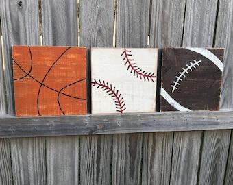 Set Of 3 Sports Balls wall hangings, basketball, football, baseball, sports balls, sports, sport art, boy decor, man cave decor, sports gift