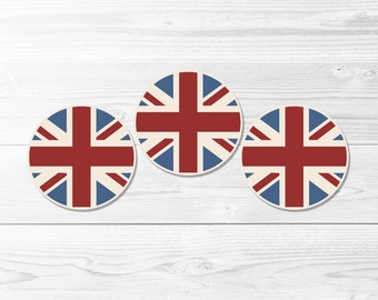 British Flag Round Labels -- Vintage Union Jack, UK Flag, 2 Inch, 1 Inch, Cupcake Toppers, Party Stickers, Printable, Instant Download