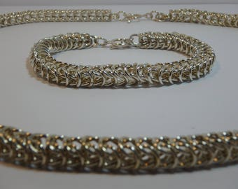 Silver Neck Chain and Bracelet Handmade