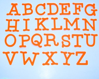"""Die Cut Letters, Uppercase alphabet letters, size from 1.5"""" to 7"""" tall,  set of 15Letters, many colors available"""