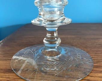 Vintage Pressed Glass Candle Holder