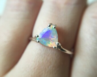 7mm Trillion Faceted Ethiopian Opal Ring in sterling silver or 14k gold - yellow gold - white gold - rose gold - opal engagement ring