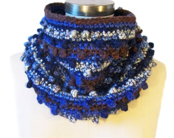 Chunky Cowl - Navy Blue and Brown - Bobble Neck Warmer