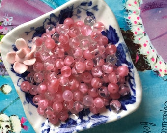 Shabby chic Transparent Pink Givre glass Beads, 6mm Rose Quartz Beads, Cottage Chic Pink Beads, shabby chic Beads, Pink Glass Beads, #B229D