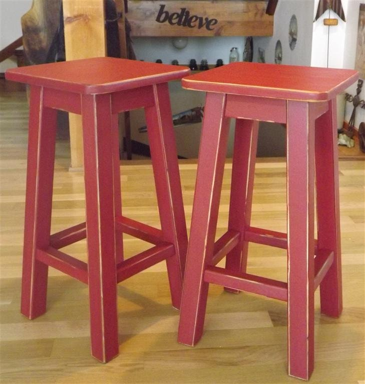 wood stool Distressed bar stool counter stool paintedred