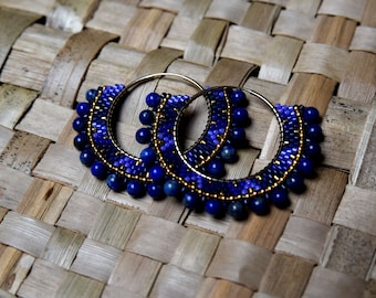 Hoop gold filled 3 cm in diameter and Lapis lazuli