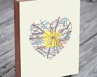 Houston Map - Houston Art - Houston Map Art - City Heart Map - Wood Block Art Print