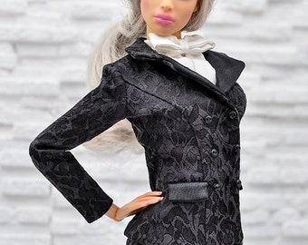 ELENPRIV black jacquard jacket with full satin lining for Sybarites on Gen X body dolls and similar body size dolls