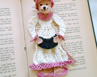 crochet bookmark, wolf in granny's nightgown, little red riding hood, stocking stuffer, unique bookmark, wolf decoration or ornament