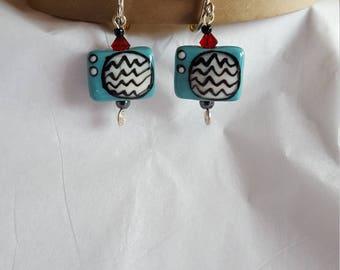 Static TV beaded earrings