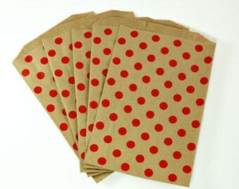 """Kraft Bags - Red Polka Dot Kraft Bag, 5"""" x 7.5"""", Set of 10"""