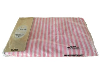 1960's Fitted Sheet by Cannon - New in Original Package, Deadstock - Mid Century Modern - Pink & White Stripes - Vintage Bedding - Twin Size