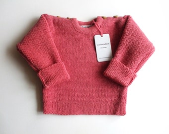 Babies/Children's knitted lambswool sweater with oak buttons/jumper/cardigan/toddlers/pink/blue/gray/natural