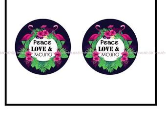 """2 cabochons glass, """"Peace, Love & Mojito!"""""""