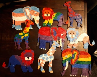 Have Pride! LGBT+ fuse beads art. Elephant, Giraffe and Lion available.