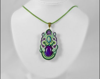 Lilac soutache pendant, purple handmade jewelry, handmade soutache necklace, green soutache jewellery, energetic pendant, gift for her Lilac