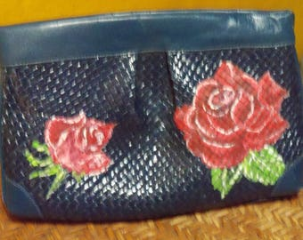 Leather Purse with Hand-painted Roses.