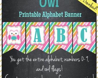 Owl Printable Alphabet Banner - Instant Download