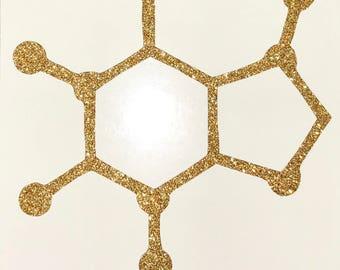 Caffeine Sticker Molecule Glitter Vinyl Decal