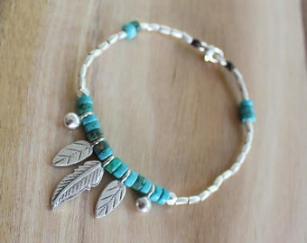 Belonging Bracelet - Karen Hill Tribe Silver - Turquoise Beads